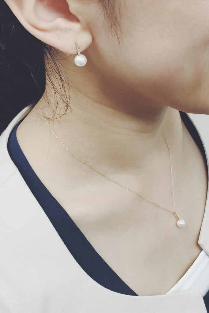 ネックレス ラインダイヤパール